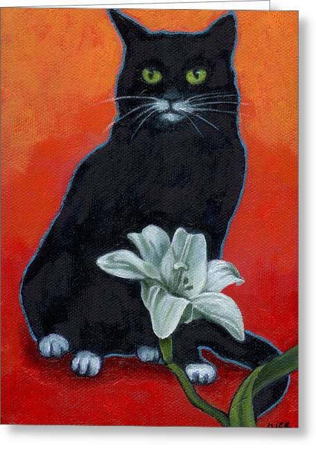 Wildife Paintings Greeting Cards - Black cat and Lily Greeting Card by Rebecca Ives