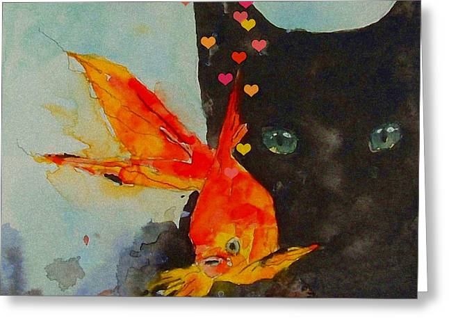 Black Greeting Cards - Black Cat and the Goldfish Greeting Card by Paul Lovering