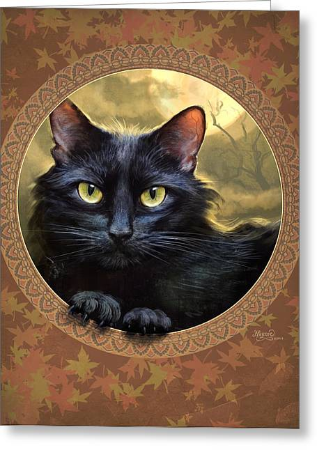 Autumn Prints Greeting Cards - Black Cat Autumn Greeting Card by Jeff Haynie