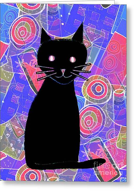 Pussy Mixed Media Greeting Cards - Black Cat Greeting Card by Barbara Moignard