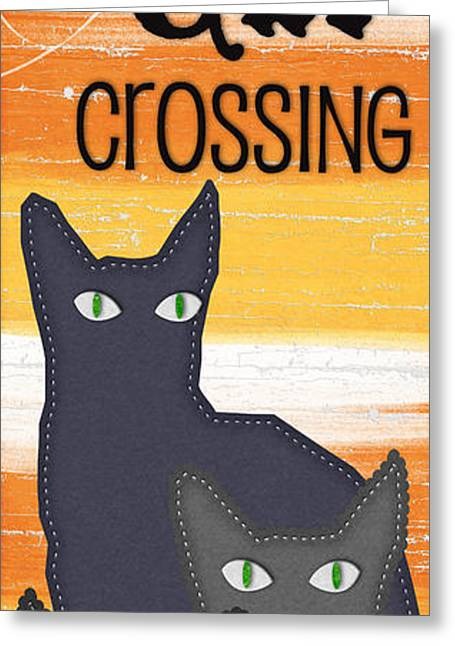 Creepy Greeting Cards - Black Cat Crossing Greeting Card by Linda Woods