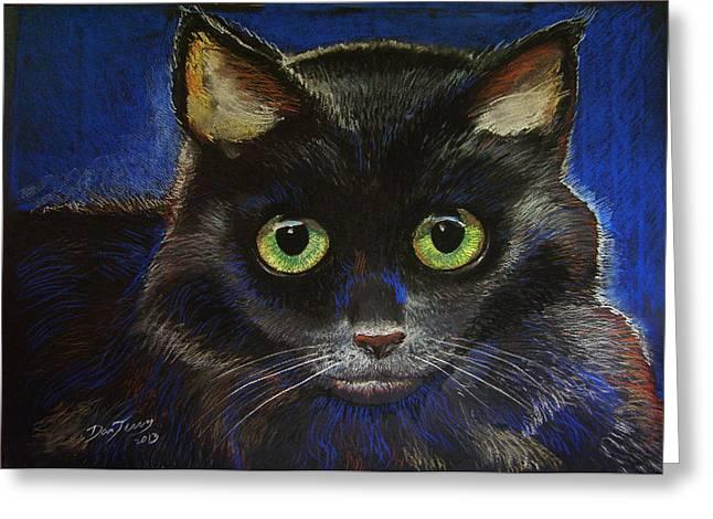 Black Cat Greeting Card by Dan Terry