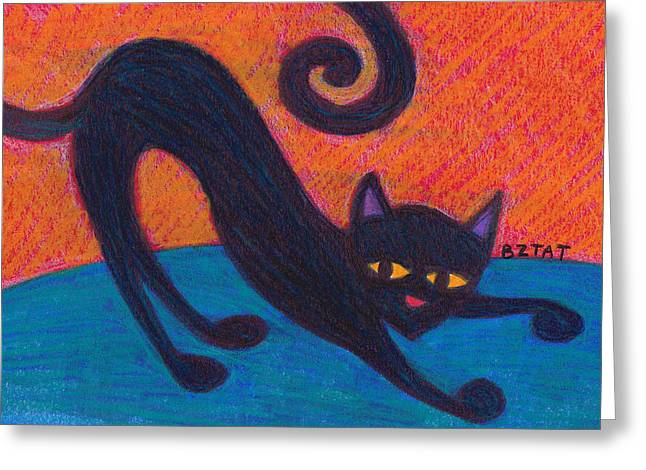 Custom Pet Drawing Greeting Cards - Black Cat Drawing Greeting Card by Artist BZTAT
