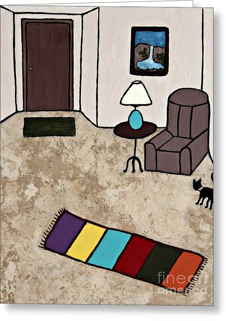 Acrylic Ceramics Greeting Cards - Essence of Home - Black Cat Entering Living Room Greeting Card by Sheryl Young