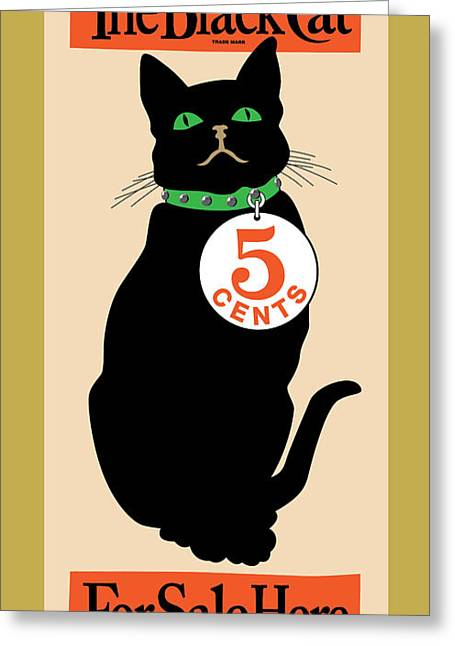 Vector Posters Greeting Cards - Black Cat Greeting Card by Gary Grayson