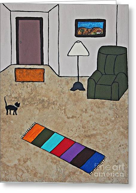 Acrylic Ceramics Greeting Cards - Essence of Home - Black Cat in Living Room Greeting Card by Sheryl Young