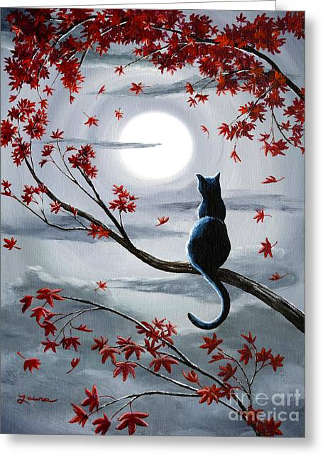 Zen Greeting Cards - Black Cat in Silvery Moonlight Greeting Card by Laura Iverson