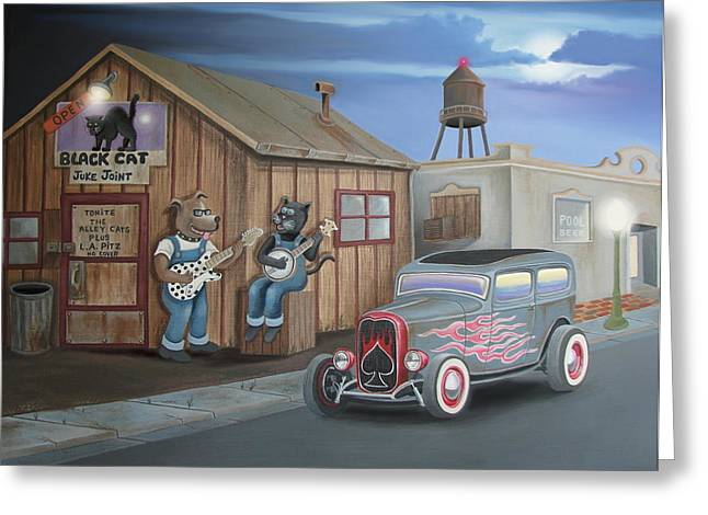 Hot Dog Joints Greeting Cards - Black Cat Juke Joint Greeting Card by Stuart Swartz