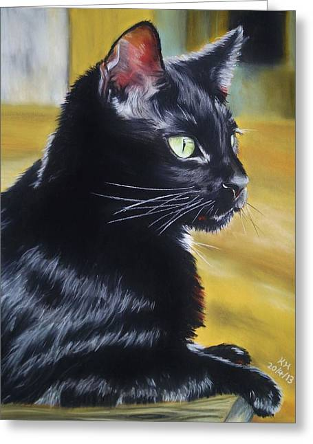 Table Top Pastels Greeting Cards - Black Cat Greeting Card by Kevin Hubbard