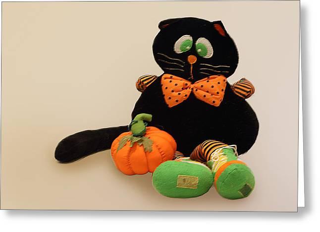 Black Tie Greeting Cards - Black Cat Greeting Card by Linda Phelps