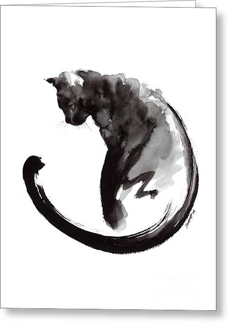 Black Cat Greeting Card by Mariusz Szmerdt