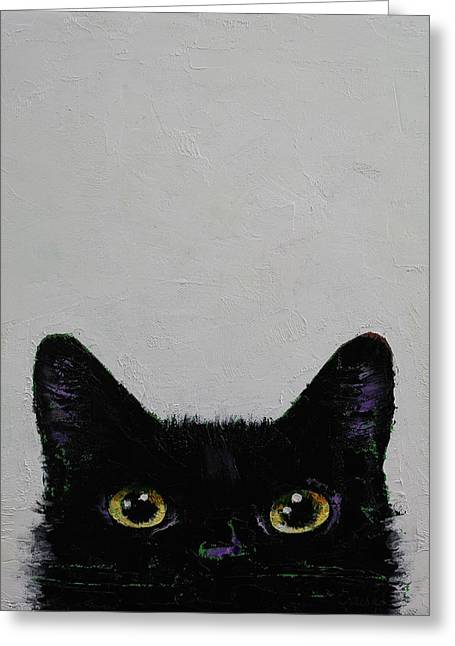 Cartoon Art Greeting Cards - Ninja Cat Greeting Card by Michael Creese