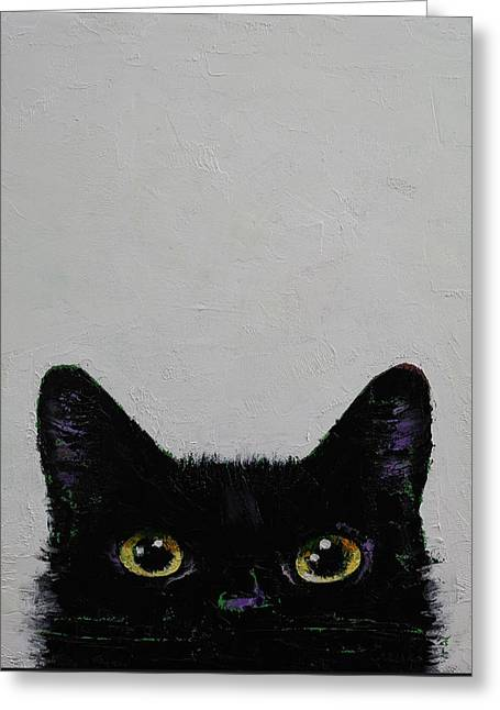 Trippy Greeting Cards - Ninja Cat Greeting Card by Michael Creese