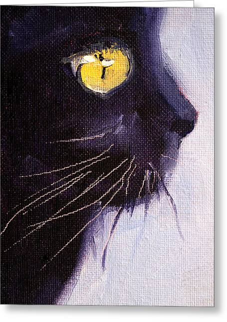 Ghostly Greeting Cards - Black Cat Greeting Card by Nancy Merkle