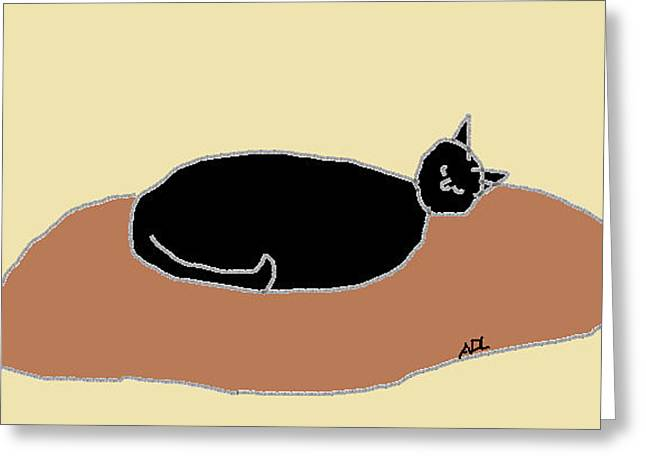 Black Cat on a Rug Greeting Card by Anita Dale Livaditis