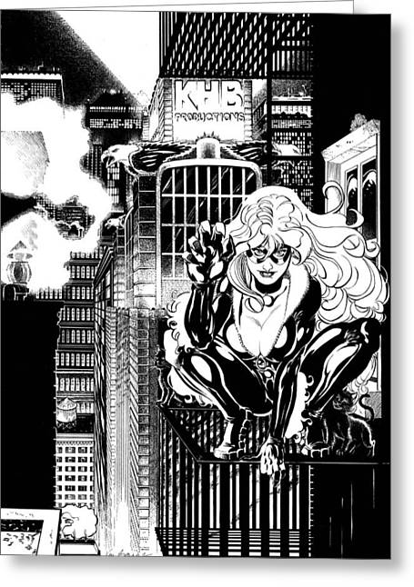 Black Cat On Fire Escape Greeting Card by Ken Branch
