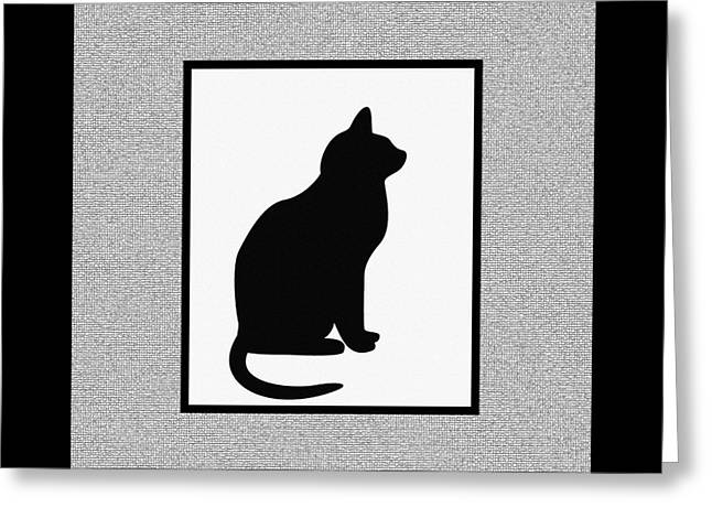 Mosaic Tapestries - Textiles Greeting Cards - Black Cat on Mosaic  Greeting Card by Barbara Griffin