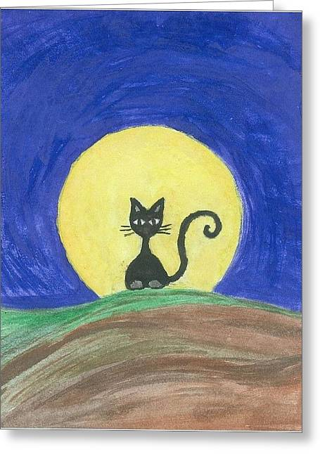 Black Cat Hills Greeting Cards - Black cat on the hill Greeting Card by Liz Rosales
