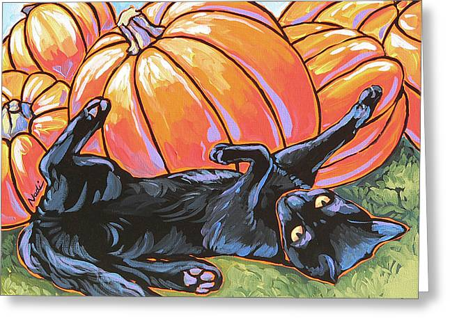 black Cat Playing Greeting Card by Nadi Spencer