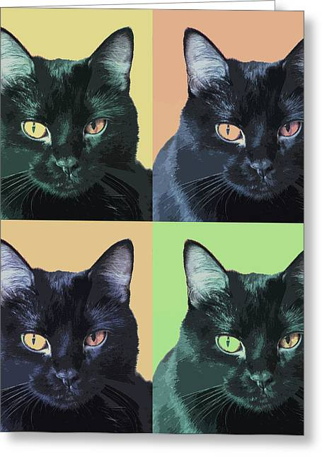 Black Cat Pop  Art Greeting Card by Susan Stone