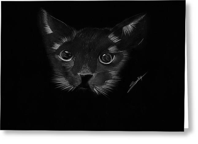 Saki Art Greeting Cards - Black Cat Greeting Card by Saki Art