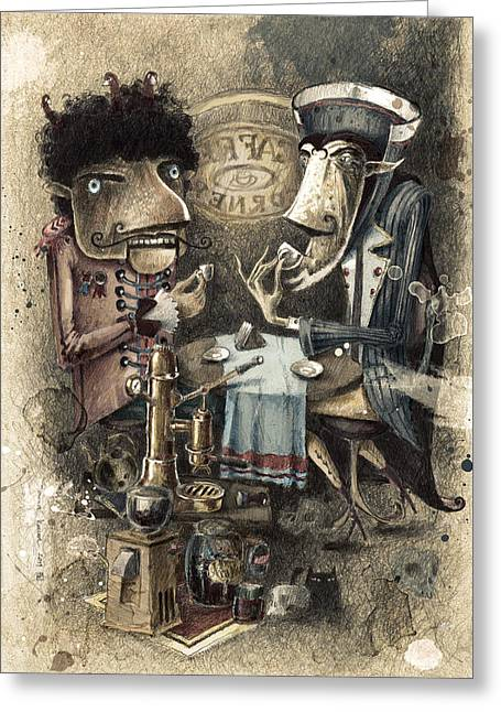 Capuccino Greeting Cards - Black Characters Espresso Coffe Greeting Card by Tom Koval