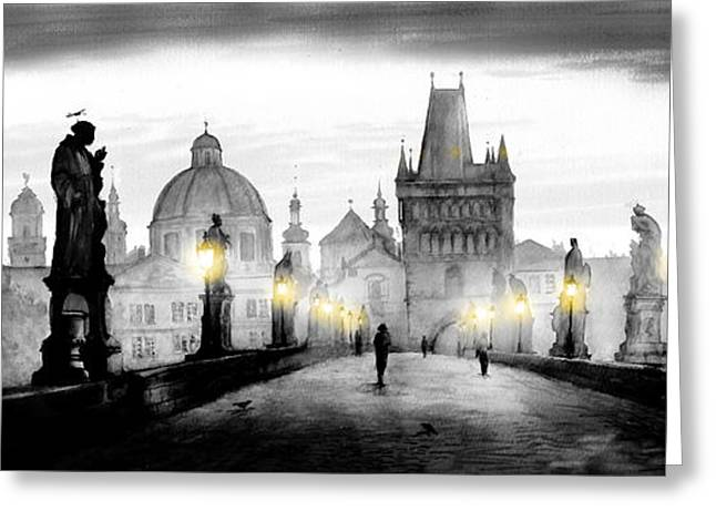 Kafka Digital Art Greeting Cards - Black Charles bridge  Greeting Card by Dmitry Koptevskiy