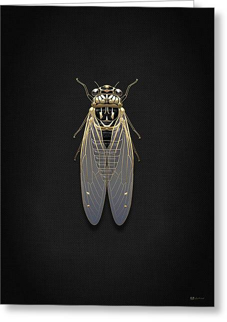 Vintage Accents Greeting Cards - Black Cicada with Gold Accents on Black Canvas Greeting Card by Serge Averbukh