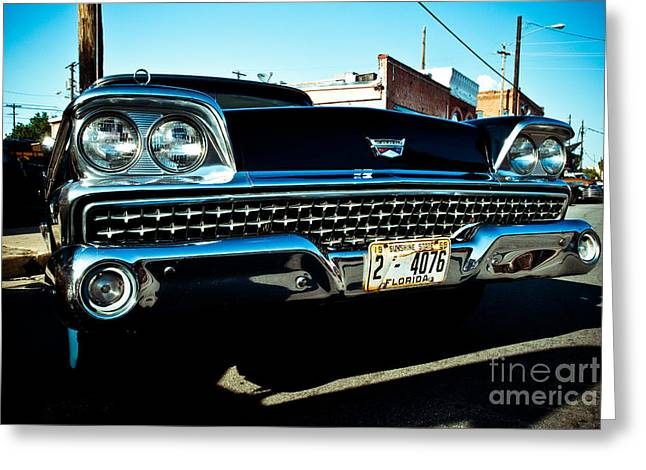 Nikon D80 Greeting Cards - Black Classic Ford Greeting Card by Sonja Quintero