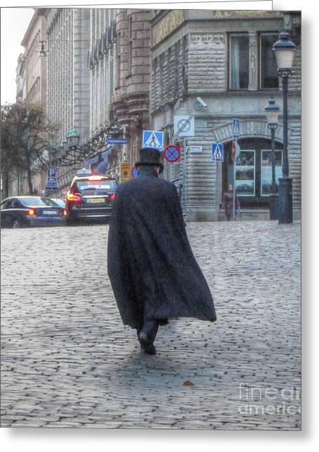 Black Man Pyrography Greeting Cards - black cloak Stokholm Swiss Greeting Card by Yury Bashkin