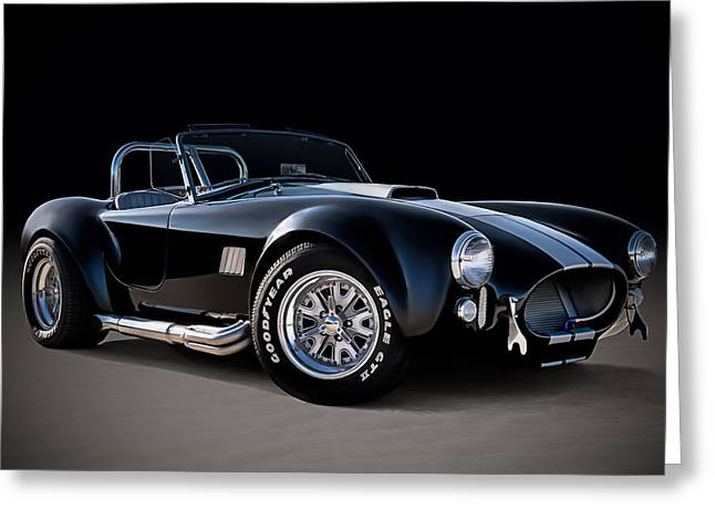 Sportscar Greeting Cards - Black Cobra Greeting Card by Douglas Pittman