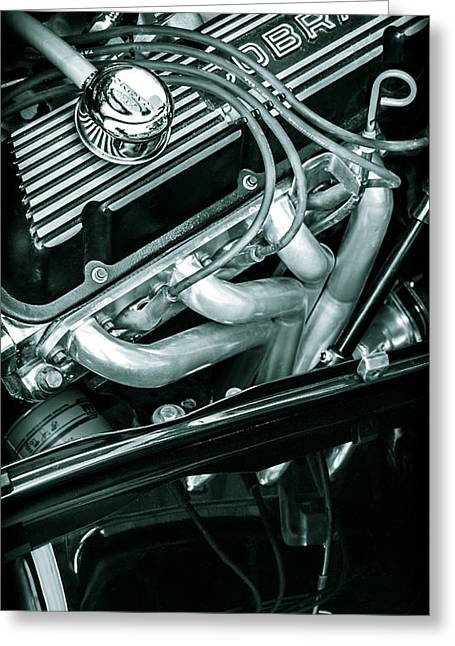 Road Travel Greeting Cards - Black Cobra - Ford Cobra Engines Greeting Card by Steven Milner
