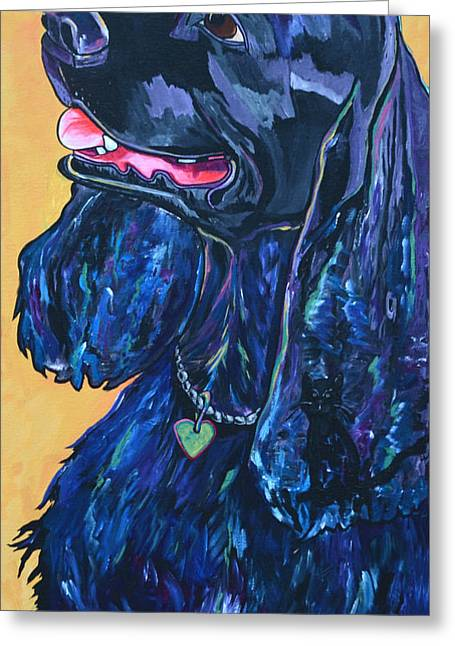 Commission Work Greeting Cards - Black Cocker Spaniel Greeting Card by Patti Schermerhorn
