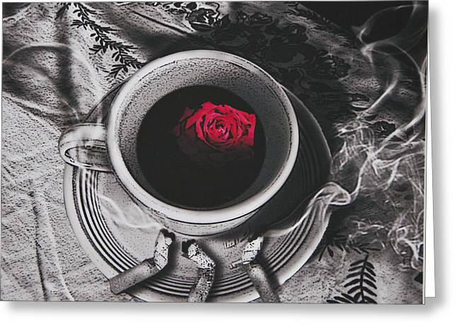 Film Noir Digital Greeting Cards - Black Coffee And Roses Greeting Card by Larry Butterworth