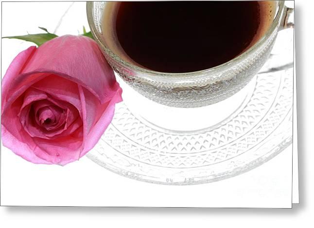 Black Coffee Pink Rose Greeting Card by Charline Xia