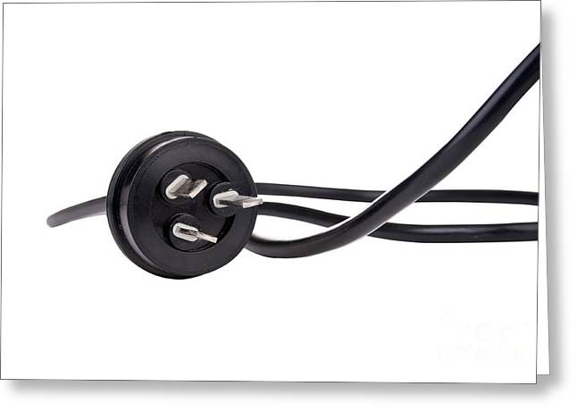 Disconnected Images Greeting Cards - Black Cord Plug Greeting Card by Tim Hester