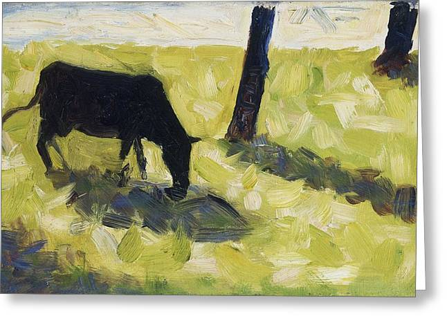 Black Greeting Cards - Black Cow In A Meadow, 1881 Greeting Card by Georges Pierre Seurat