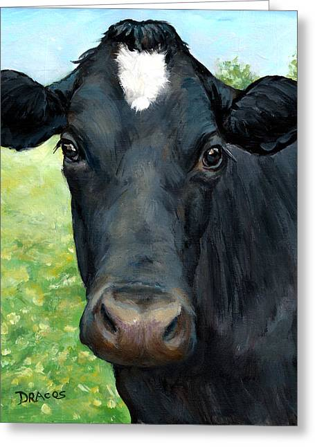 Black Cow With Star Greeting Card by Dottie Dracos