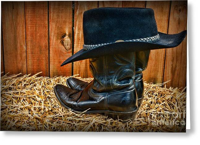 Black Boots Greeting Cards - Black Cowboy Hat on Black Boots Greeting Card by Paul Ward