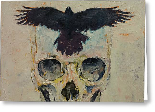 Lowbrow Greeting Cards - Black Crow Greeting Card by Michael Creese