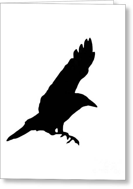 Full-length Portrait Greeting Cards - Black Crow On White Greeting Card by Linsey Williams
