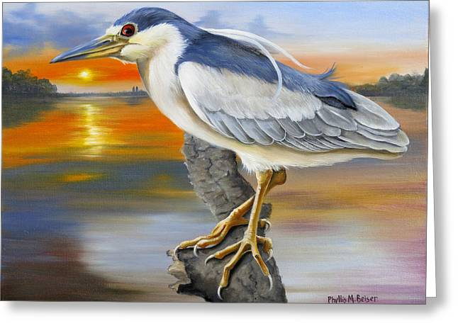 Black Crowned Night Heron At The Jordan Greeting Card by Phyllis Beiser
