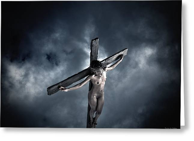 Kreuz Greeting Cards - Black Crucified Jesus Greeting Card by Ramon Martinez