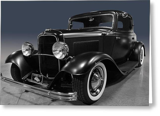 Cruisin For A Cure Greeting Cards - Black Deuce Coupe Greeting Card by Bill Dutting
