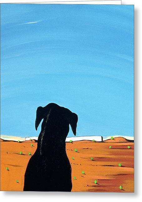 Northeastern Greeting Cards - Black Dog In Chestertown, 1998 Greeting Card by Marjorie Weiss
