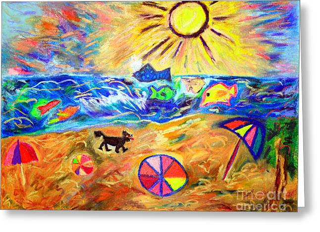 Valuable Greeting Cards - Black Dog on Brighton Beach Greeting Card by Debbie Davidsohn