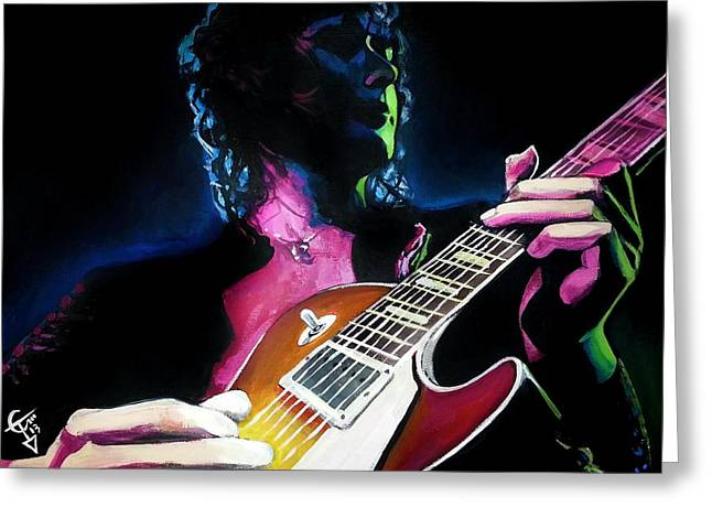 Jimmy Page Paintings Greeting Cards - Black Dog Greeting Card by Tom Carlton