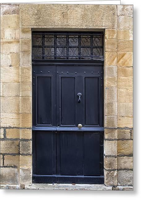 French Doors Photographs Greeting Cards - Black Door in Monflanquin Greeting Card by Nomad Art And  Design