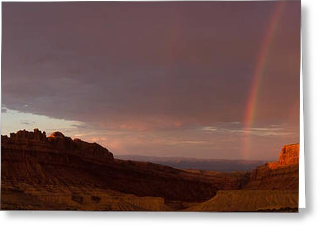 Utah Pyrography Greeting Cards - Black Dragon Canyon with Rainbow Greeting Card by Keith Stansell