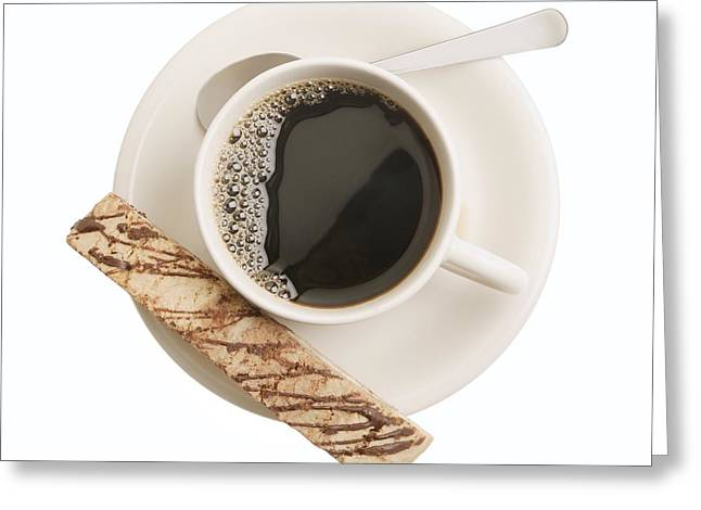 Biscotti Greeting Cards - Black Drink With Snack Greeting Card by Don Hammond